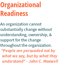 "Organizational Readiness An organization cannot substantially change without understanding, ownership, & support for the change throughout the organization. ""People are persuaded not by